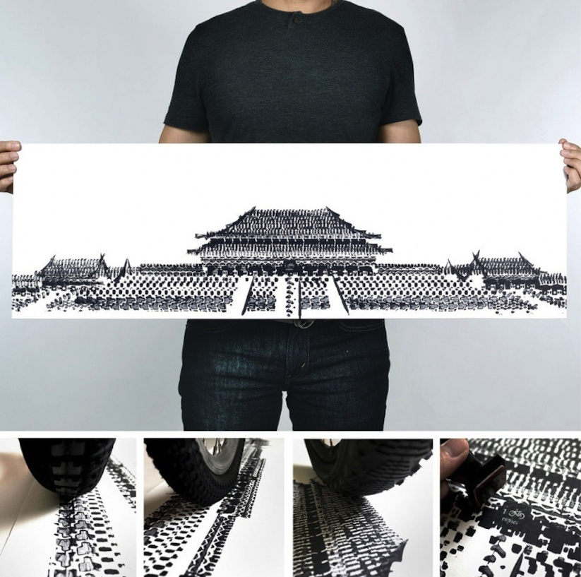 Famous_Landmarks_Printed_with_Bicycle_Tire_Tracks_by_Artist_Thomas_Yang_2014_08