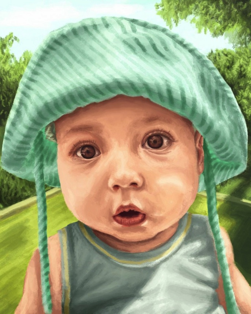 Husband_Hires_24_Artists_To_Illustrate_Portraits_Of_His_Son_To_Surprise_His_Wife_2014_10