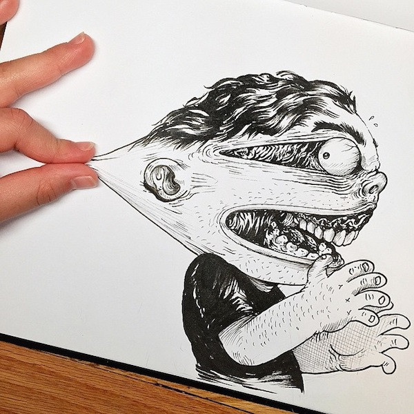 Illustrator_Alex_Solis_Playfully_Tortures_Cartoon_Character_With_His_Fingers_2015_02