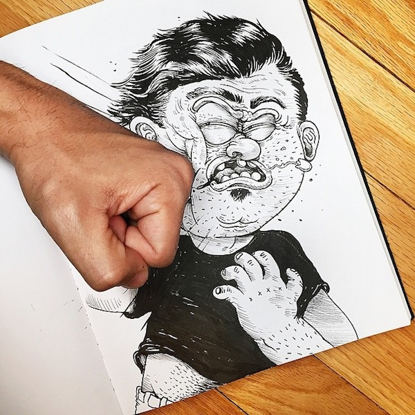 Illustrator_Alex_Solis_Playfully_Tortures_Cartoon_Character_With_His_Fingers_2015_05