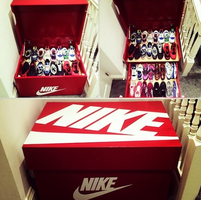 Nike air jordan slide out wooden sneaker box storage by for Schuhschrank jordan design