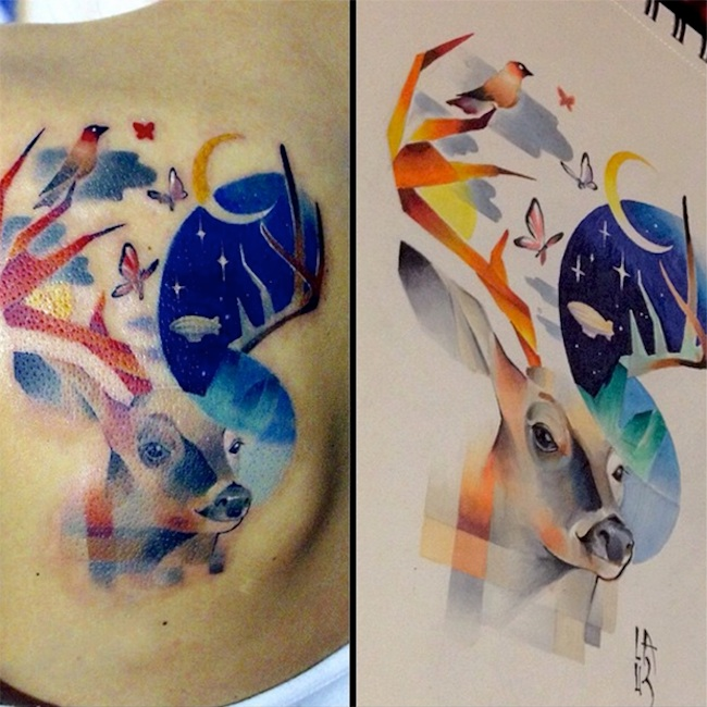 Colorful Pixel Glitch Tattoos By Moscowbased Artist Lesha Lauz - Artist creates amazing animal tattoos with digital pixel glitches