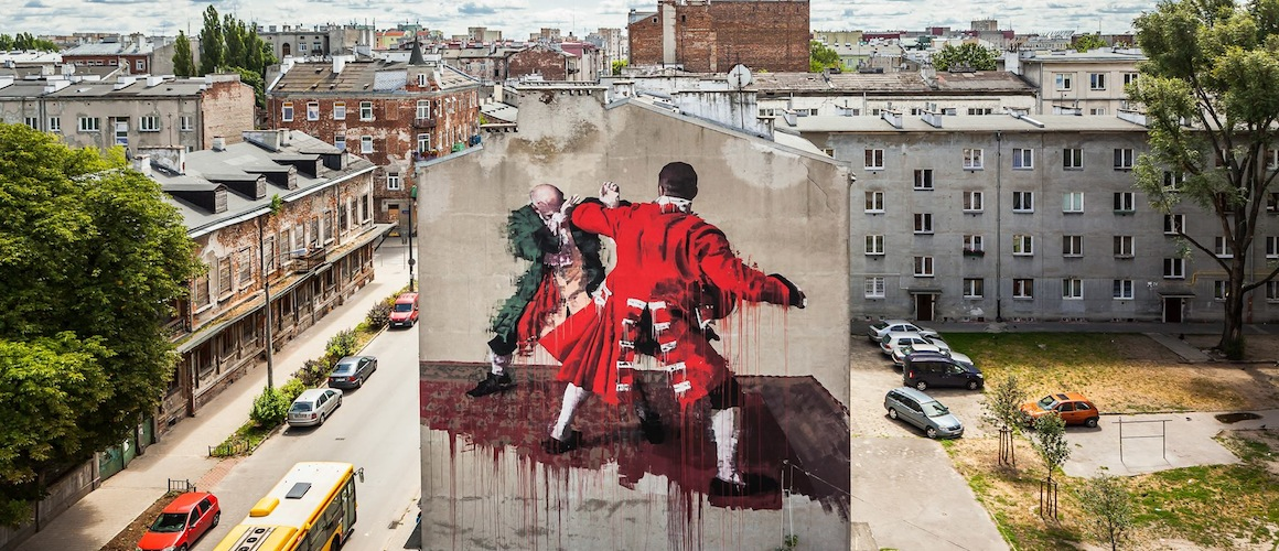 Warsaw fight club a new mural by street artist conor for Club de suscriptores mural