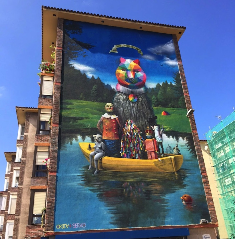 Okuda_Serzo_Collaborate_on_a_Large_Mural_in_Santander_Spain_2015_01