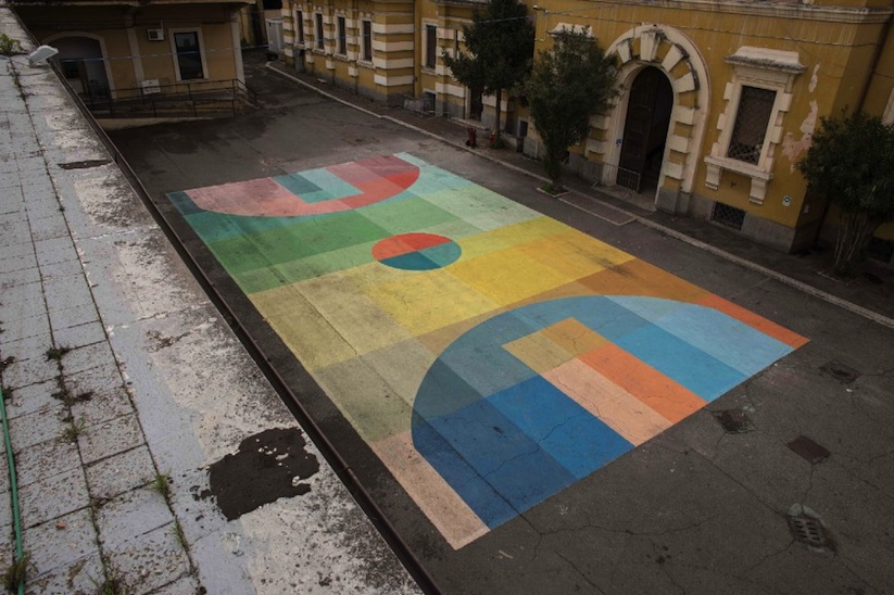 Basketball Color Court By Street Artist Alberonero In