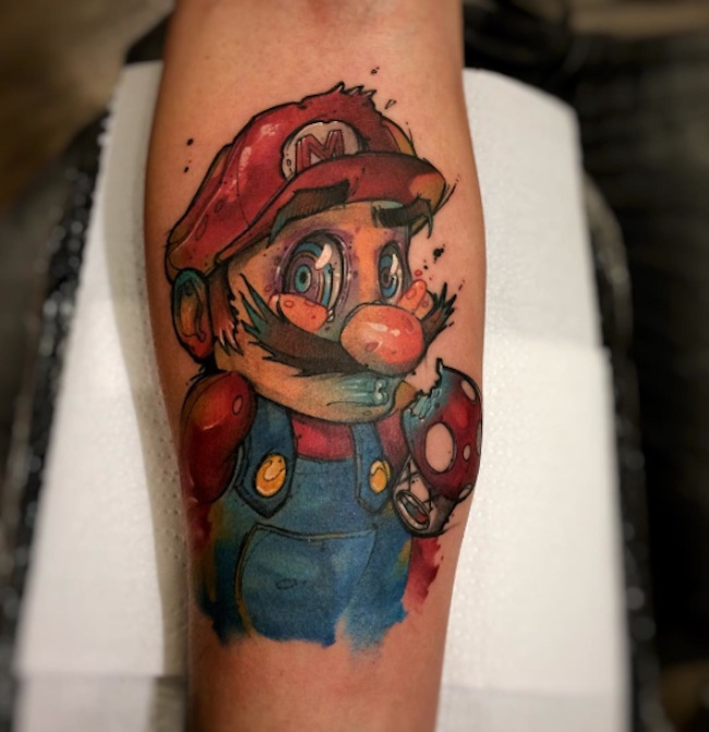 cartooninspired watercolor tattoos by brasilian artist