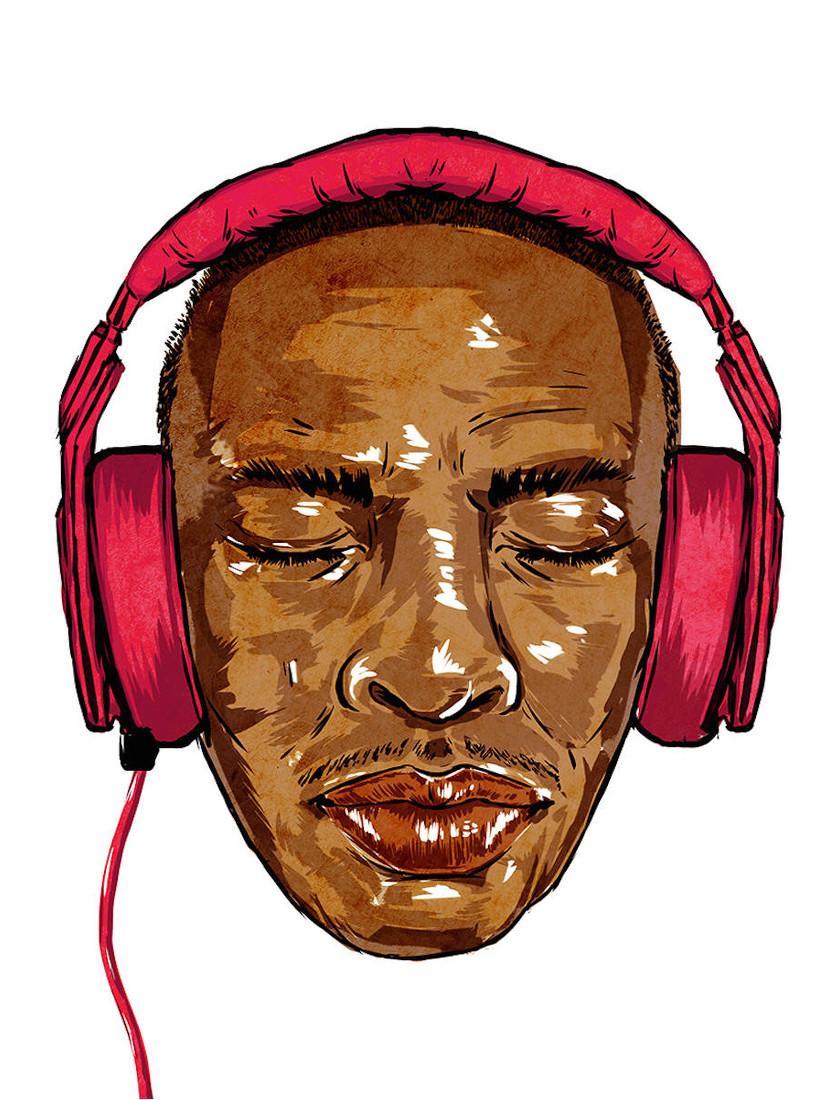 Dre mit seinen Beats by Dre Kopfhörern