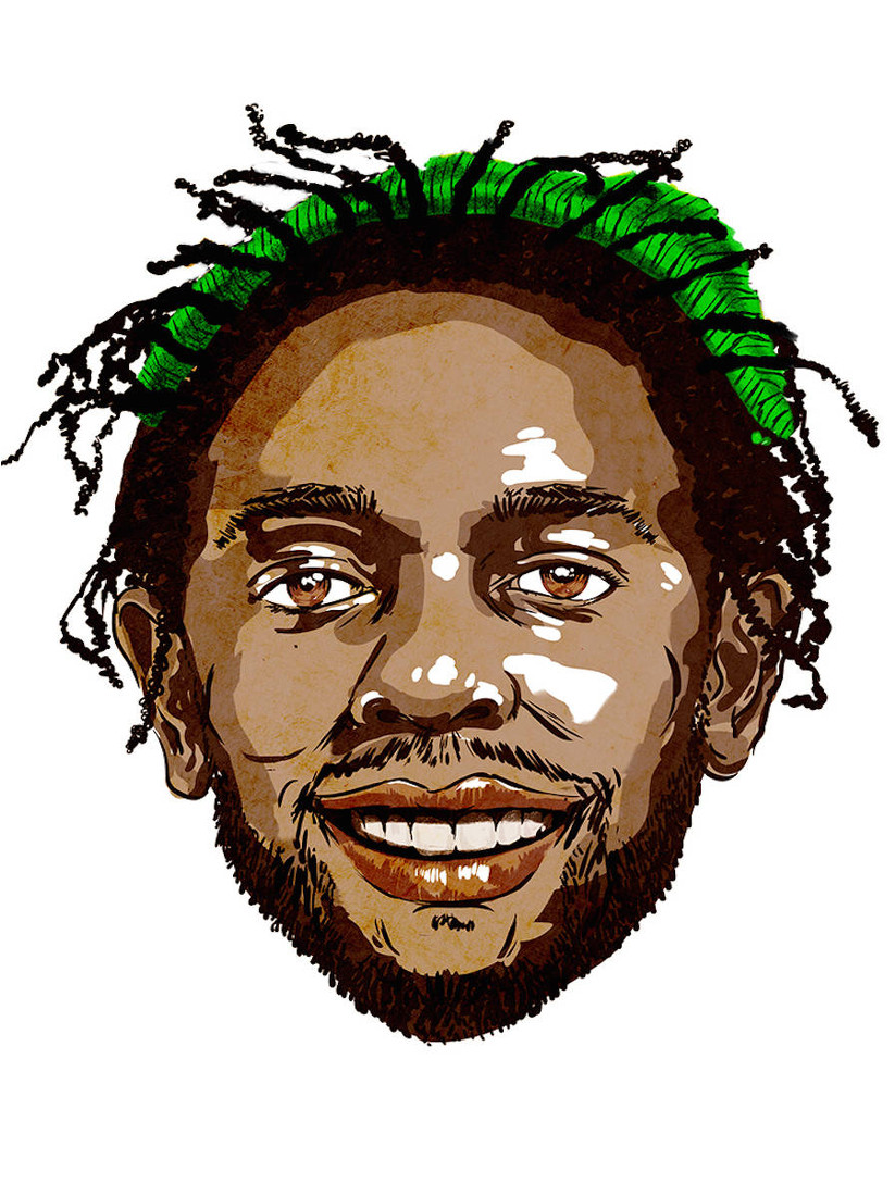 Kendrick Lamar mit seiner Jamaika-Mütze