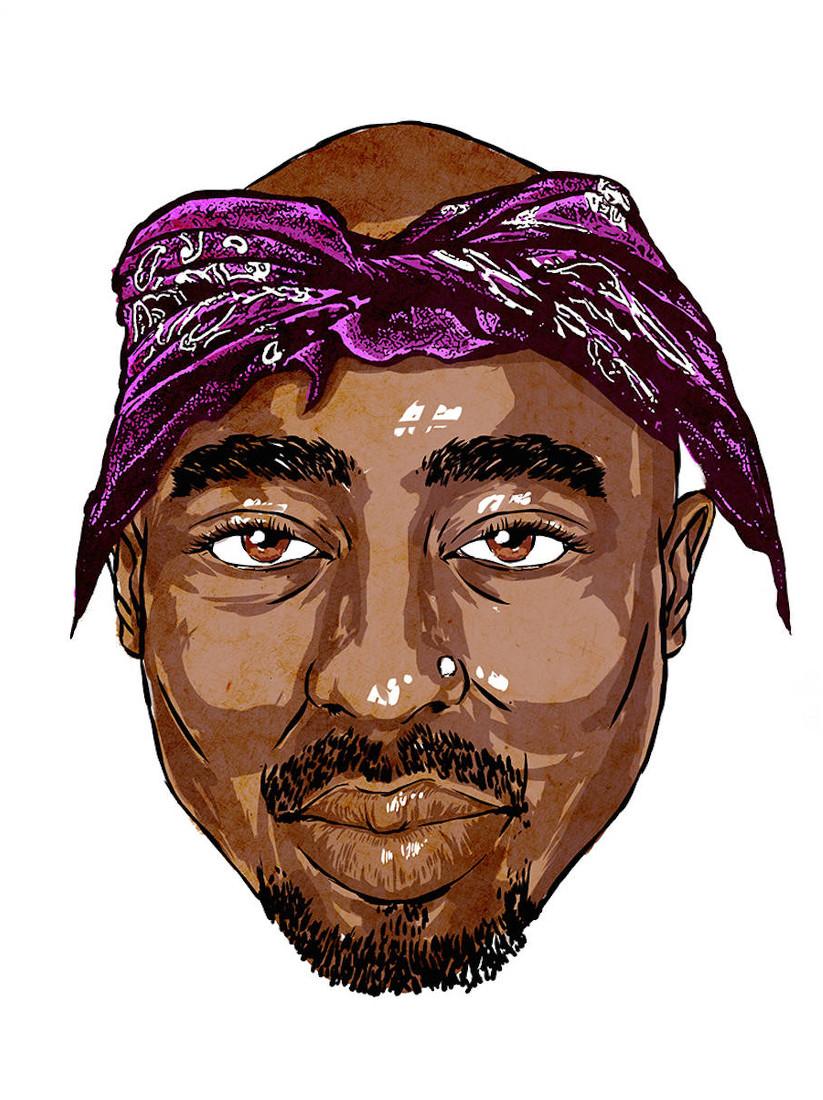 Tupac mit einem Bandana auf der Stirn