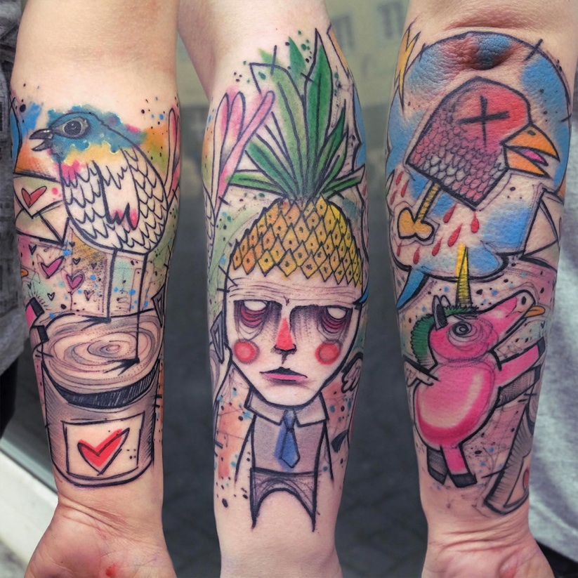 Great vibrant surreal portraits and animals by german for Good tattoo artists
