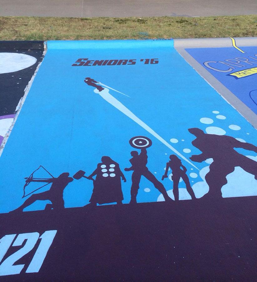 High School Seniors paint their own Parking Spaces in Florida & Texas