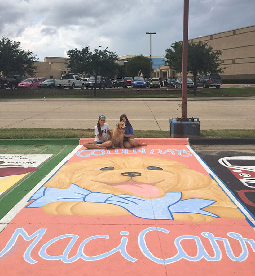 High School Paintings – Seniors paint their own Parking Spaces in Florida & Texas