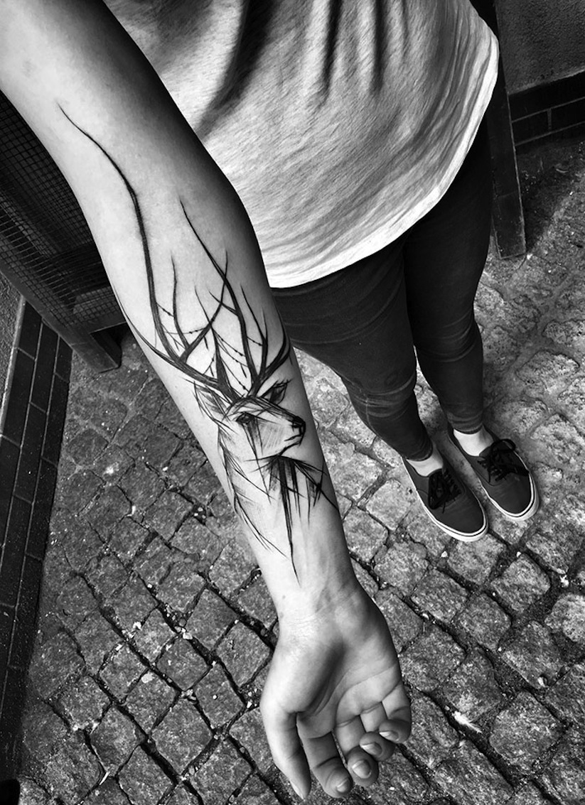 beauty of imperfection awesome sketch tattoos by polish artist inez janiak. Black Bedroom Furniture Sets. Home Design Ideas