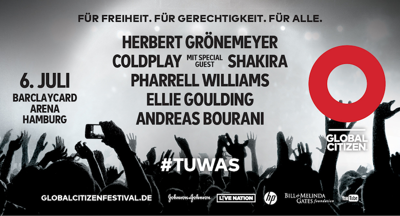 global citizen festival am 06 juli in hamburg jetzt tickets gewinnen tuwas. Black Bedroom Furniture Sets. Home Design Ideas