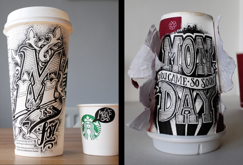 Coffee_Time_Typographic_Art_on_Discarded_Coffee_Cups_by_Rob_Draper_2014_06