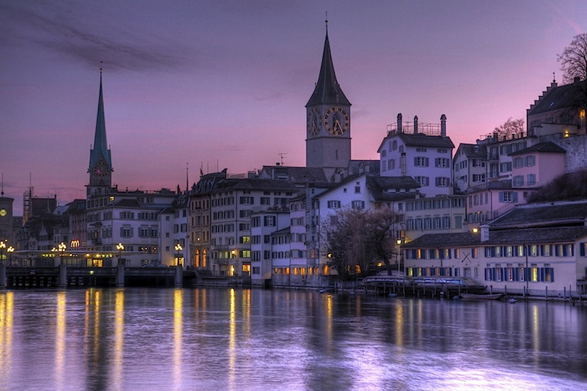 Purple skies over Zurich, Switzerland
